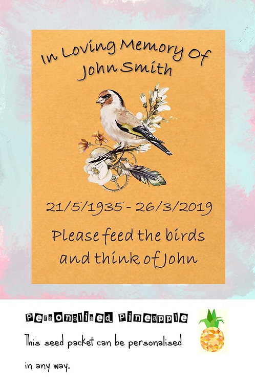Funeral Bird Seed Packet Memorial Remembrance Favour Brown