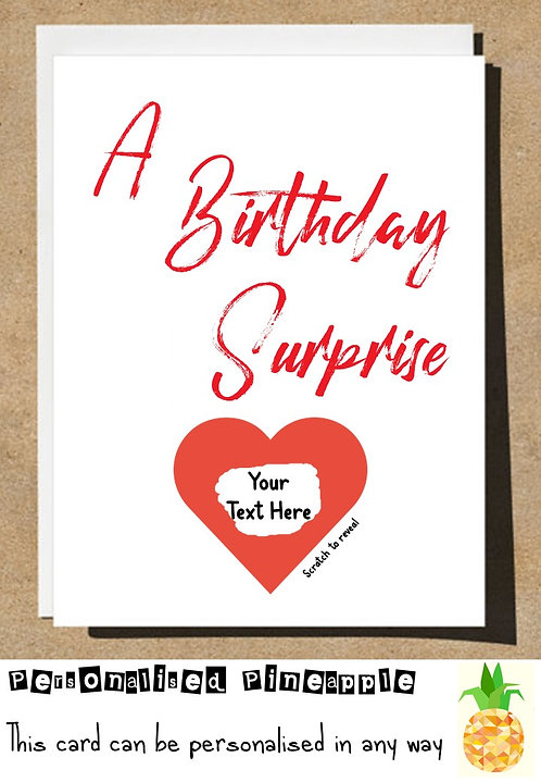 A BIRTHDAY SURPRISE LOVE HEART SCRATCH REVEAL SURPRISE BIRTHDAY CARD