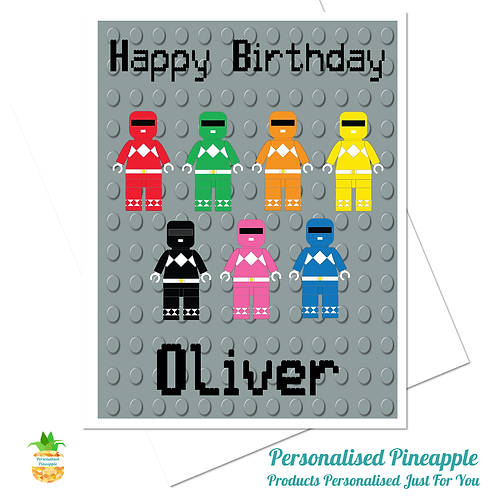 LEGO Power Rangers Birthday Card Son Grandson Brother Can Personalised Name Age