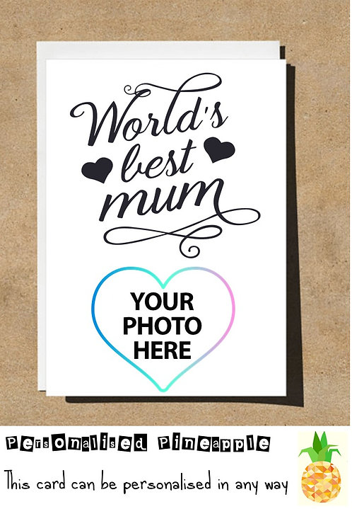 MOTHERS DAY / BIRTHDAY CARD - WORLDS BEST MUM - PERSONALISED OWN PHOTO