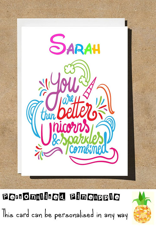 UNICORN BETTER THAN SPARKLES BIRTHDAY CARD