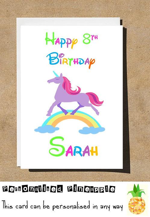 UNICORN 8TH EIGHTH BIRTHDAY CARD
