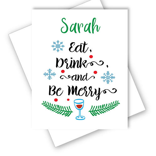 Wine Christmas Card Eat Drink and Be Merry