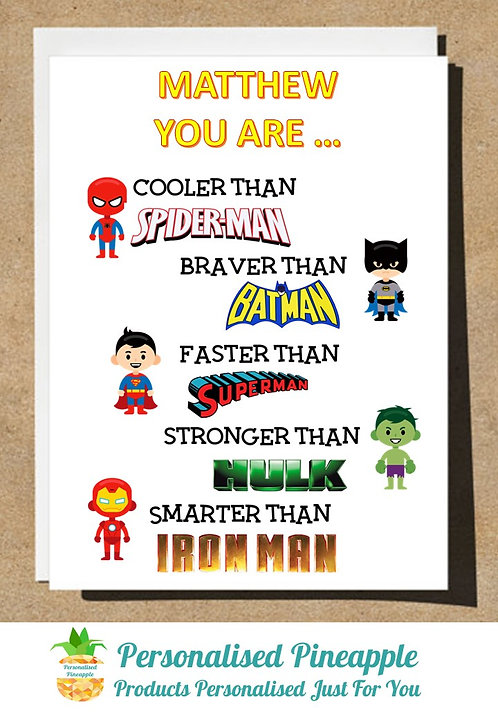 PERSONALISED BIRTHDAY CARD SUPERHERO