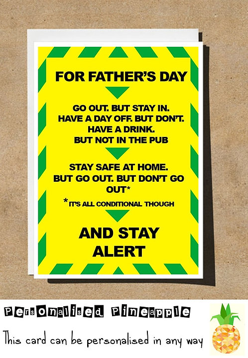 STAY ALERT FATHERS DAY CARD FUNNY LOCKDOWN