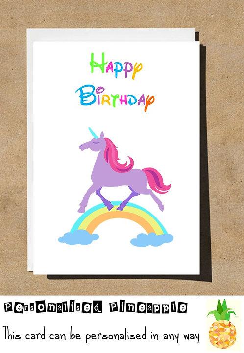 UNICORN RAINBOW BIRTHDAY CARD