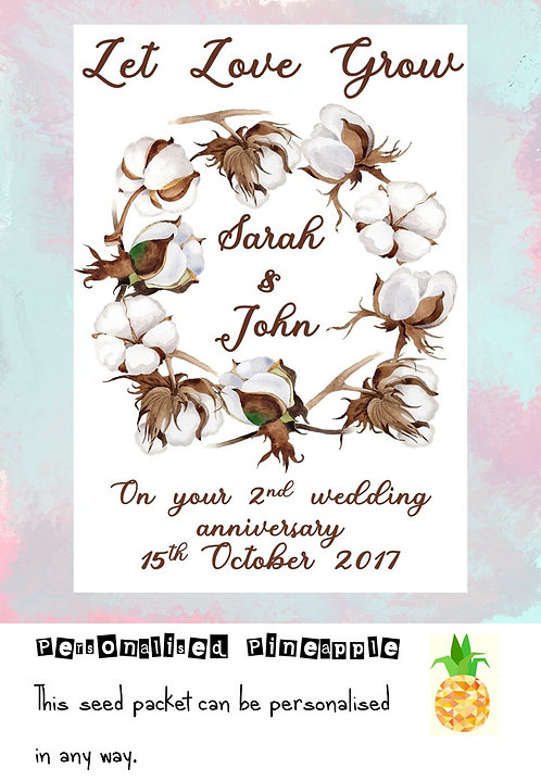 Cotton 2nd Wedding Anniversary Flower Seed Packet Favour White
