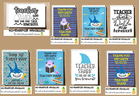 TEACHER SHARK THANK YOU CARD - MANY DESIGNS