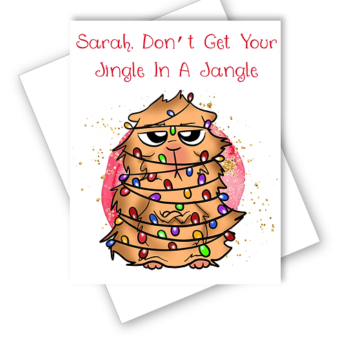 Funny Cat Christmas Card Dont Get Jingle In A Jangle Friend Wife Personalised