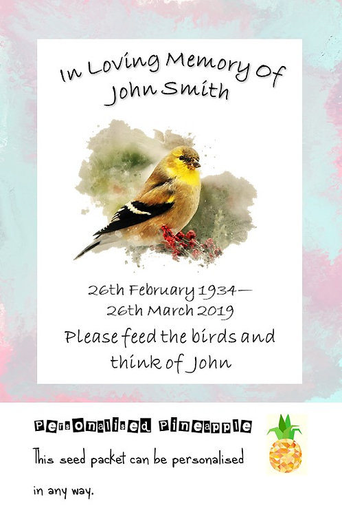 Funeral Bird Seed Packet Memorial Remembrance Favour White