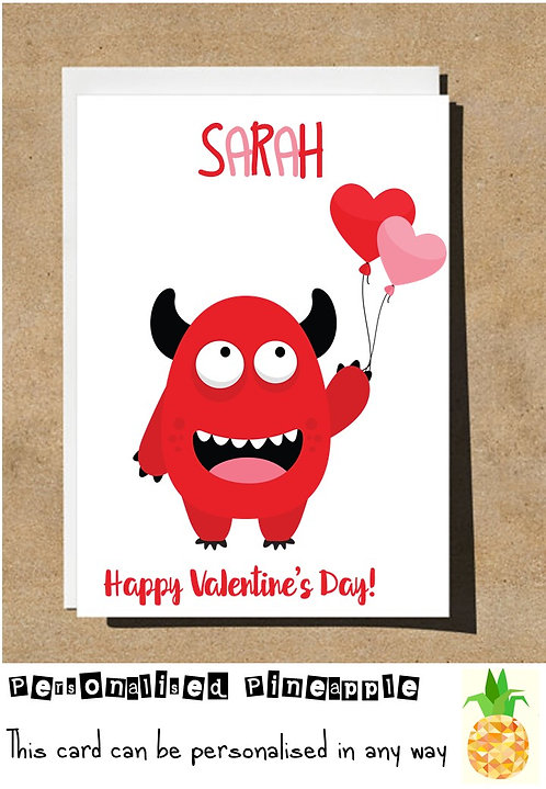 MONSTER - HAPPY VALENTINES DAY CARD - PERSONALISED