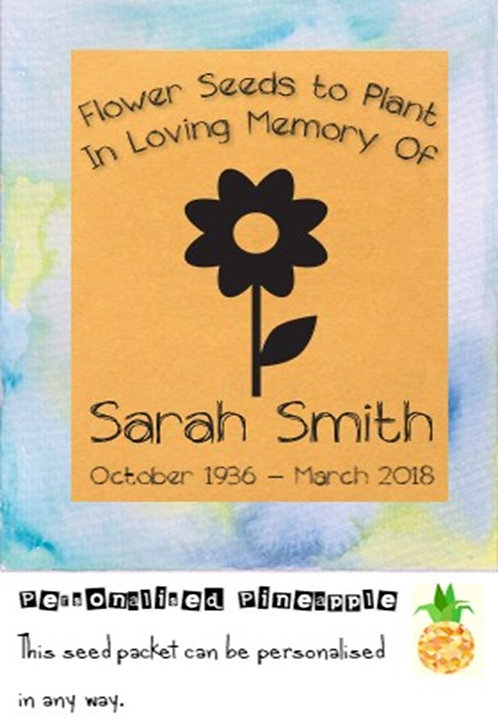 Funeral Flower Seed Packet Memorial Remembrance Favour Brown
