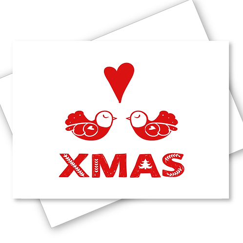 LOVE BIRDS COUPLE SCANDINAVIAN FOLK ART DESIGN MERRY CHRISTMAS CARD