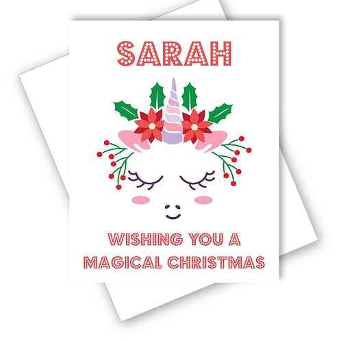 Unicorn Magical Christmas Card  Grandaughter Daughter Niece Friend