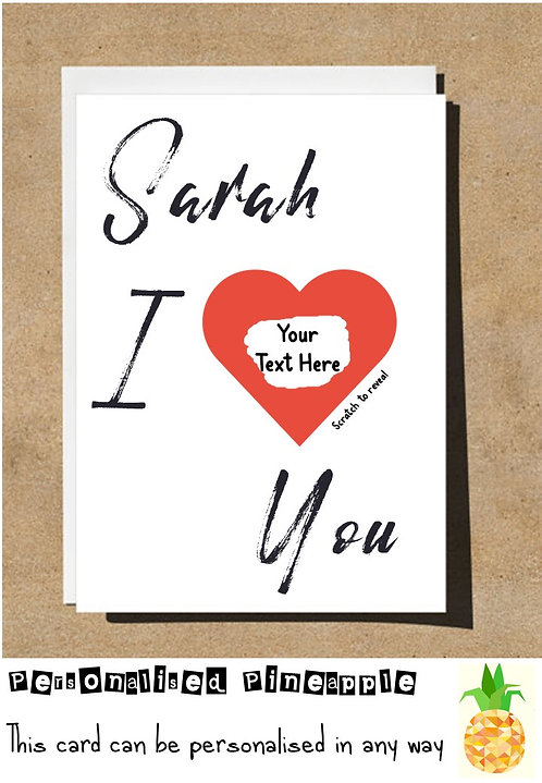 VALENTINES DAY ANNIVERSARY BIRTHDAY SCRATCH OFF CARD - I LOVE (HEART) YOU