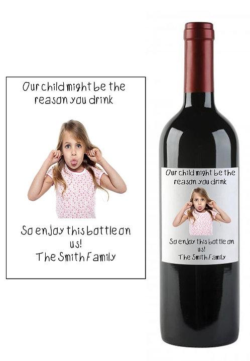 Personalised Photo Teacher Teaching Wine Bottle Label Gift