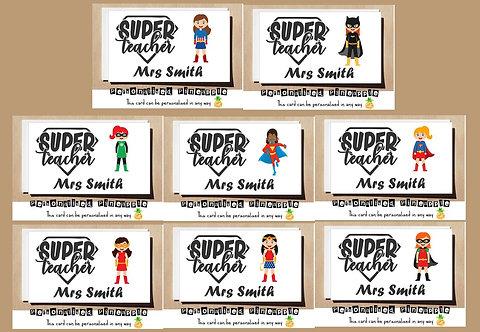 SUPERHERO FEMALE TEACHER THANK YOU CARD - MANY DESIGNS