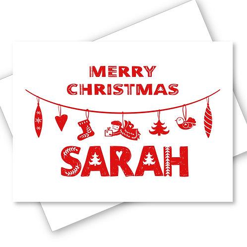 GARLAND SCANDINAVIAN FOLK ART DESIGN MERRY CHRISTMAS CARD
