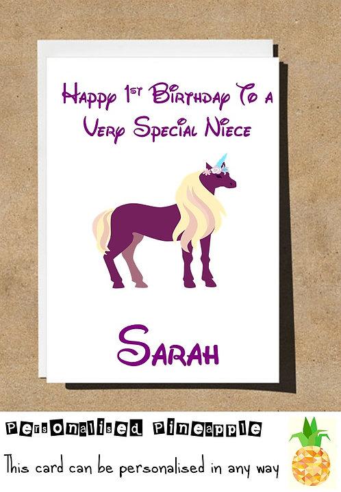 UNICORN 1ST FIRST BIRTHDAY NIECE BIRTHDAY CARD