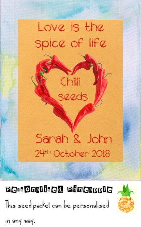 Wedding Chilli Seed Packet Favour Brown