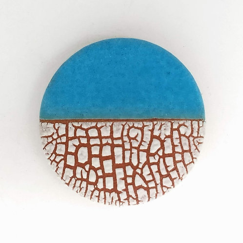 Turquoise and Textured White Glazed Ceramic Brooch