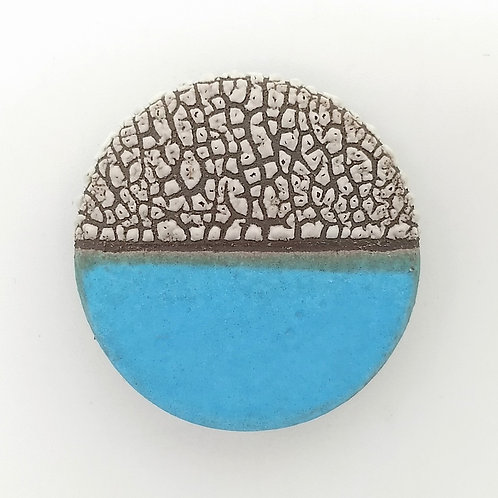 Ocean Blue Ceramic Textured Brooch Front View