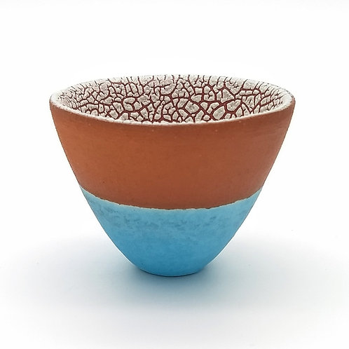 Terracotta Turquoise White Bowl Side View 1