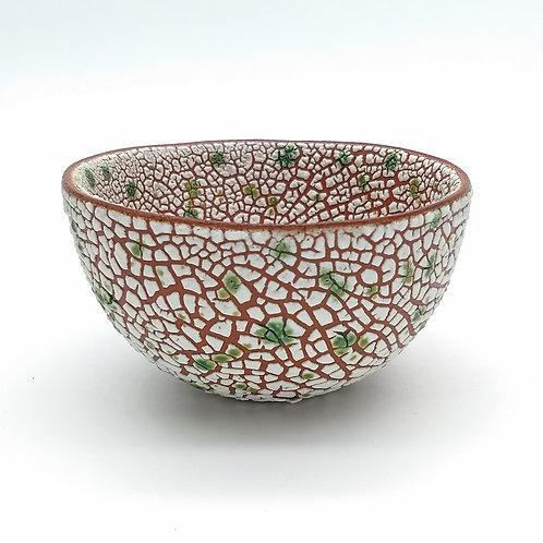 White Green Bowl Side View 1