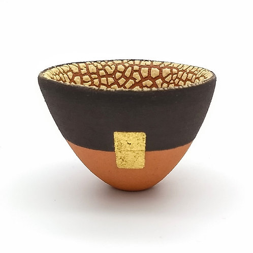 Terracotta Black Slip Gold Leaf Bowl Front View 1