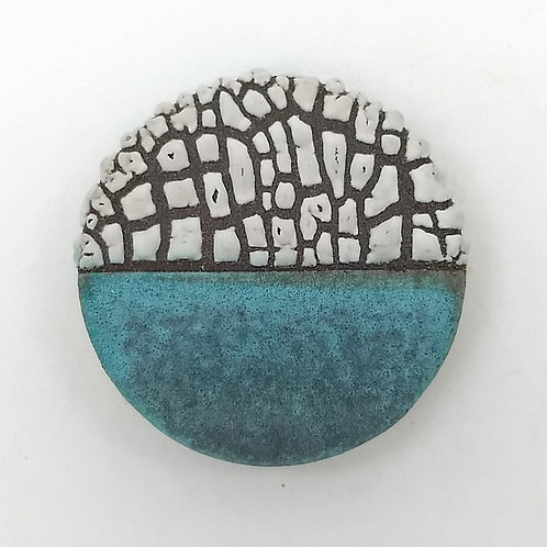 Turquoise and Textured White Glazed Brooch