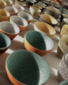 Decorative ceramic tactile handmade bowls.