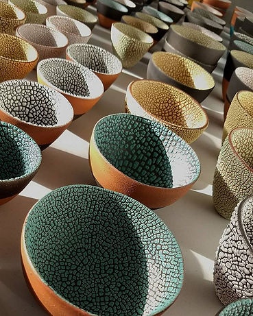 Decorative ceramic tactile handmade bowls.
