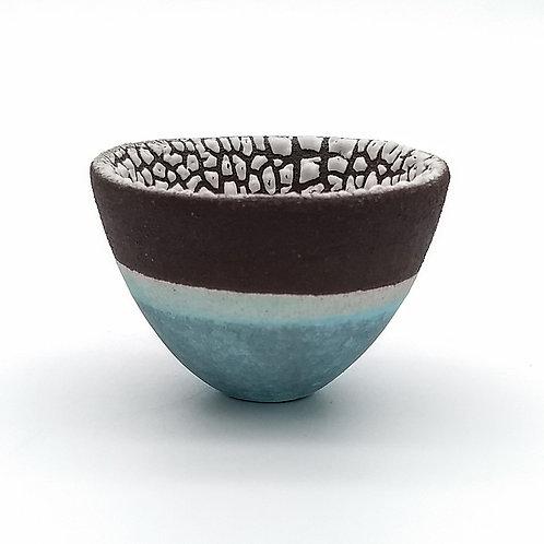 Aqua Blue Black Clay White Glazed Bowl Side View 1