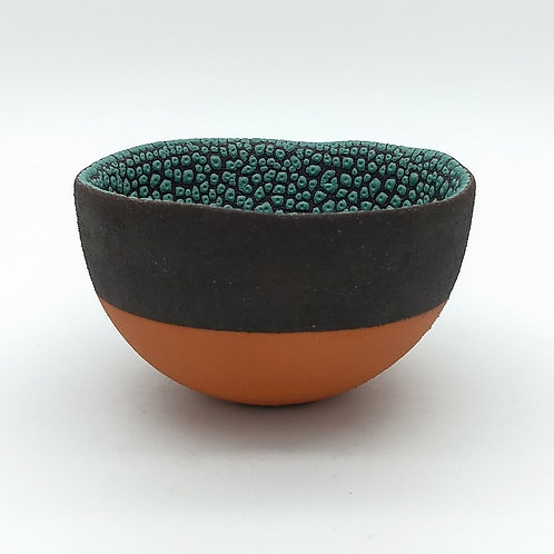 Tactile Deep Green Glazed Black Clay Bowl