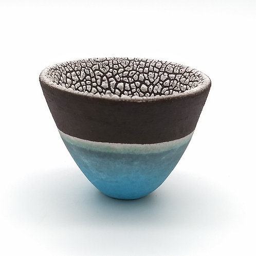 Black Clay Turquoise White Glazed Bowl Side View 1