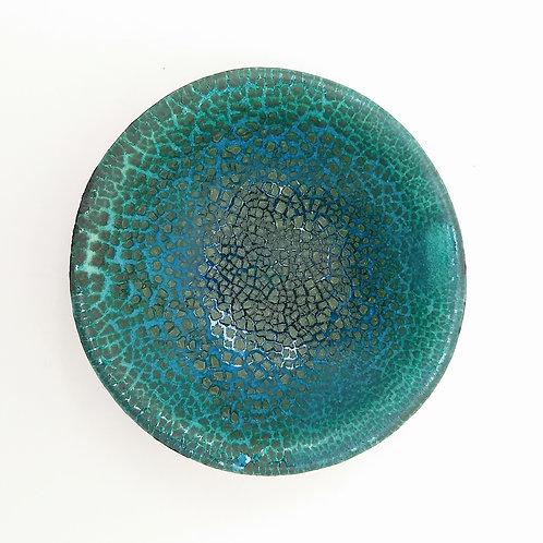 Blue Green Textured Decorative Ceramic Dish