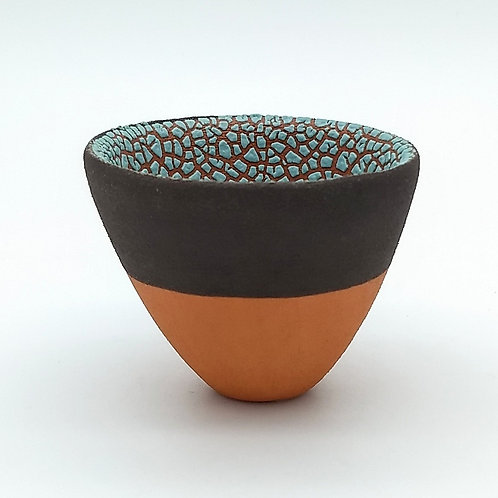 Turquoise Blue Crawl Glazed Bowl Front View