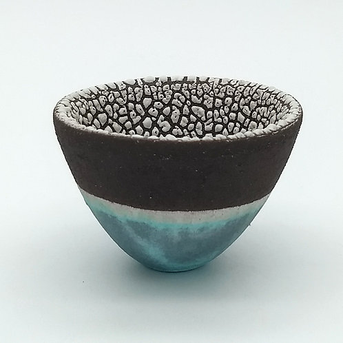 Black Clay Aqua Glazed Decorative Bowl