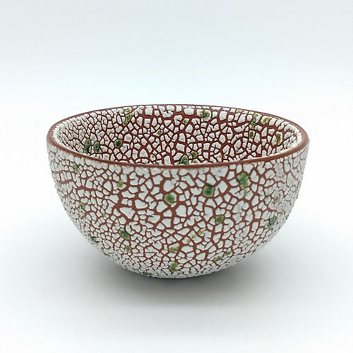 White and Green Bowl Front View