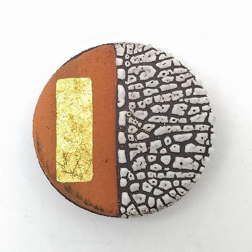 White Terracotta Gold Leaf Brooch