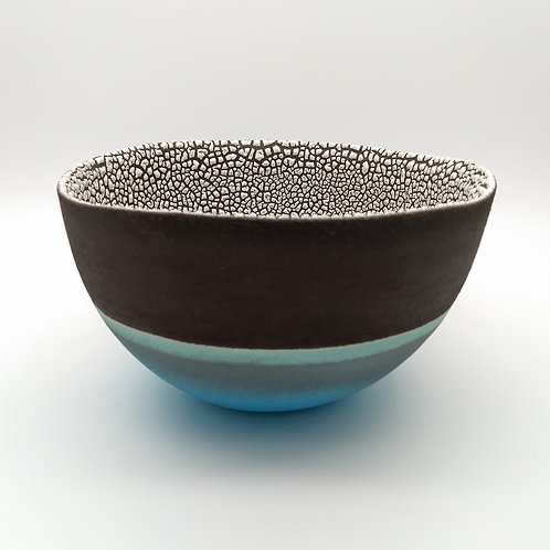 Medium Turquoise White Bowl Side View 1