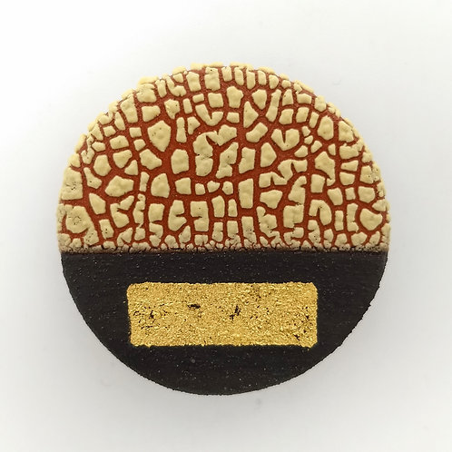 Deep Yellow Gold Leaf Terracotta Clay Brooch Front View