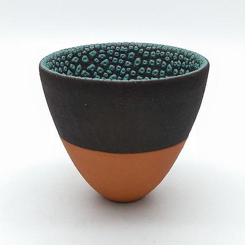 Deep Green Glazed Decorative Black Clay Bowl
