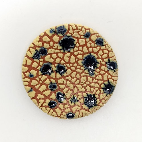 Yellow Blue Terracotta Brooch Front View