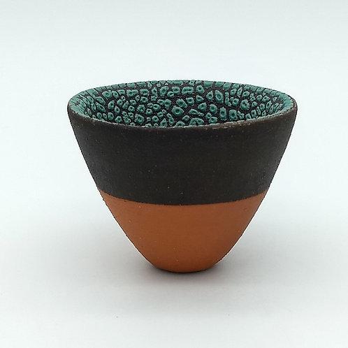 Black Clay Red Slip Green Glaze Bowl