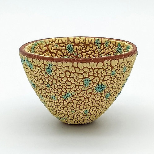 Yellow Turquoise Textured Decorative Bowl Front View