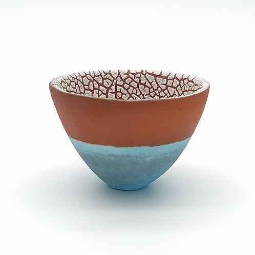 Aqua Blue Terracotta White Bowl Side View 1