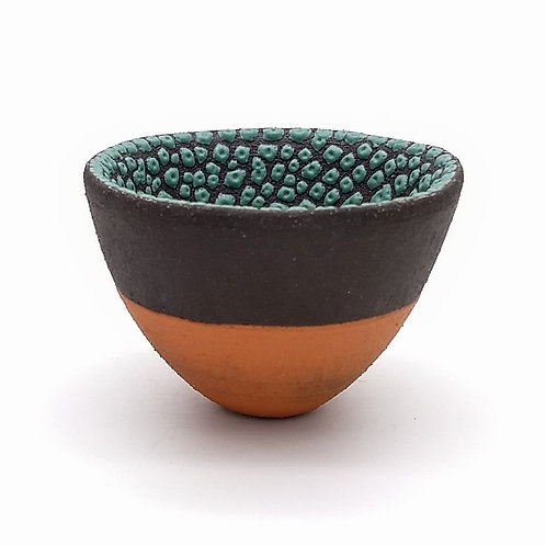 Deep Green Glazed Black Terracotta Clay Bowl Side View 1
