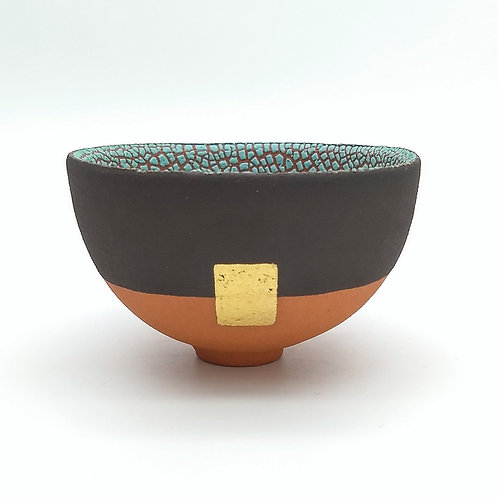 Terracotta Turquoise Footed Bowl Front View