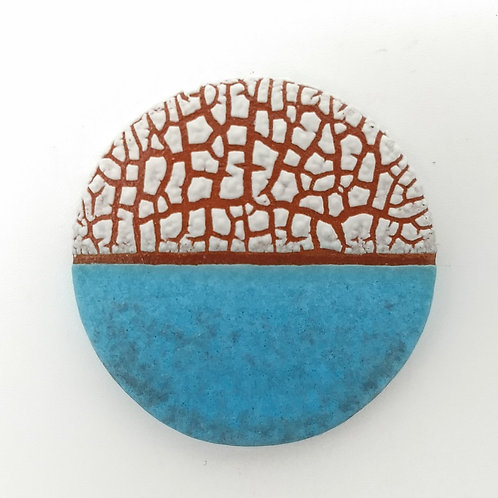 Turquoise Grey White Terracotta Brooch Front View